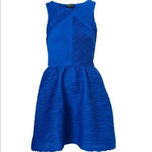 Topshop blue textured party dress